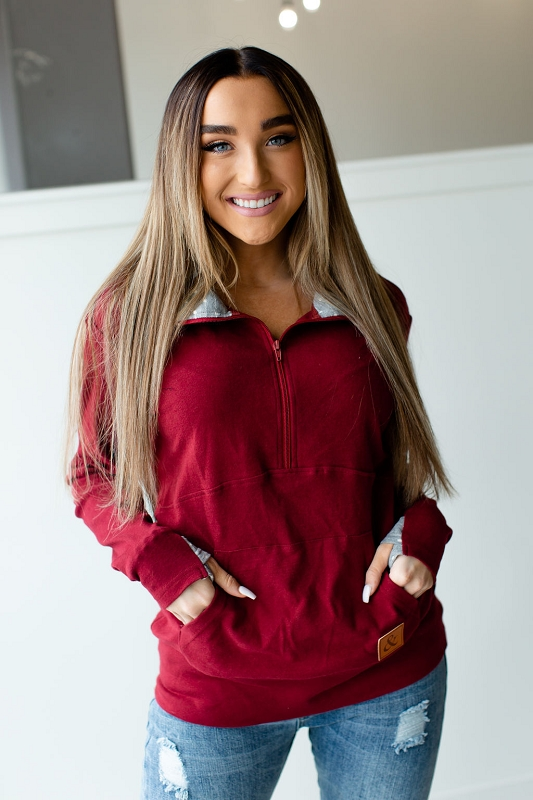 Adult Halfzip Sweatshirt | Cranberry
