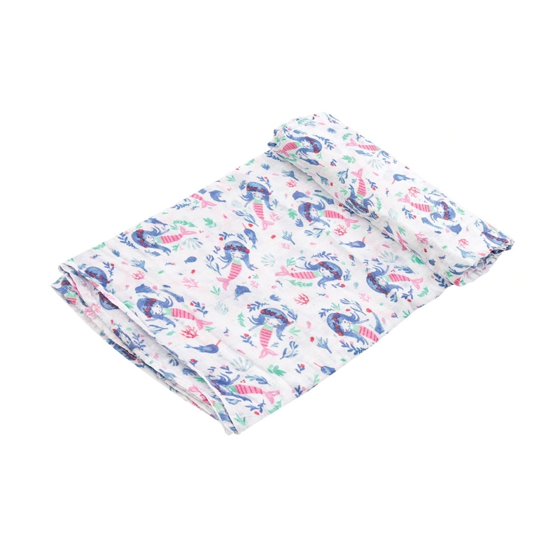 Bamboo/Cotton Swaddle Blanket | Mermaid