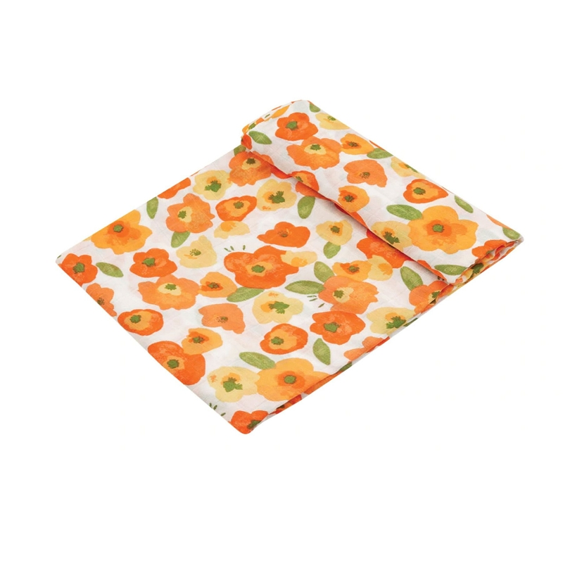 Bamboo/Cotton Swaddle Blanket | Poppy Fields