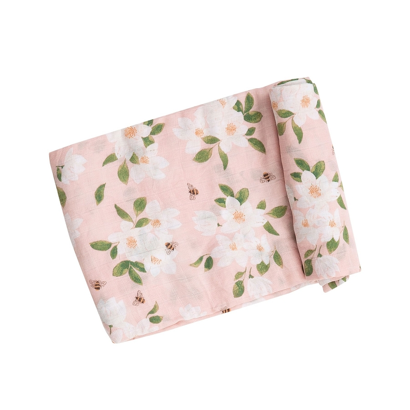 Bamboo/Cotton Swaddle Blanket | Magnolias