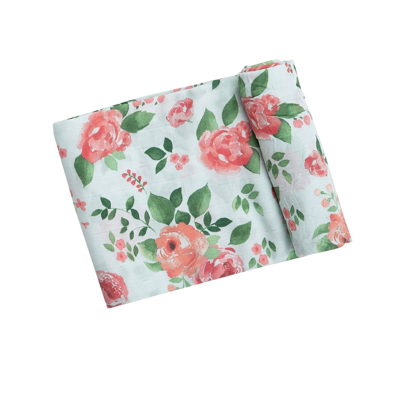 Bamboo/Cotton Swaddle Blanket | Rose Garden
