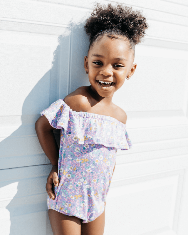 Isla Flutter Sleeve Leotard | Purple Floral