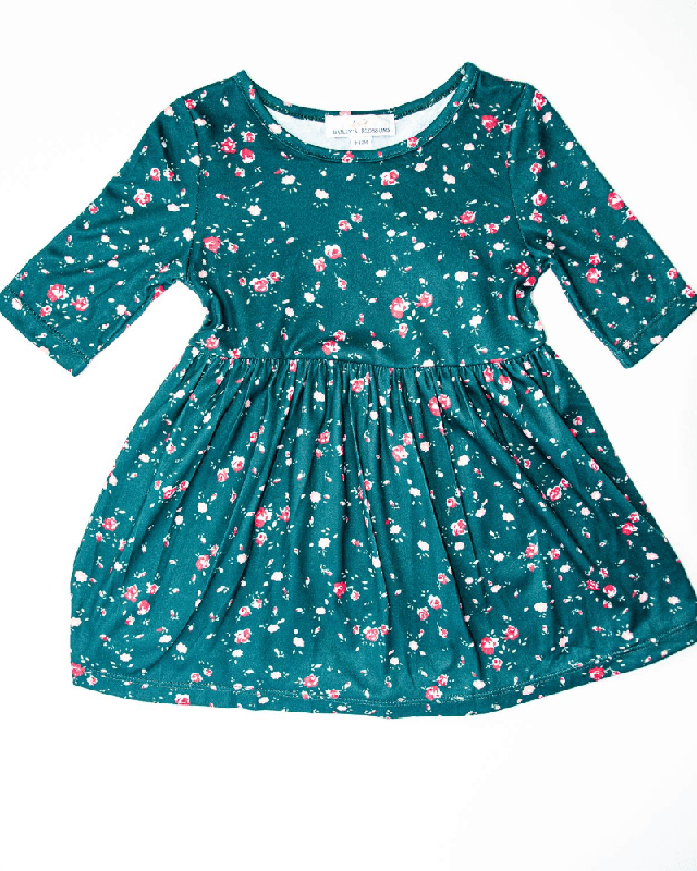 Cleo Pleated Dress | Green Floral
