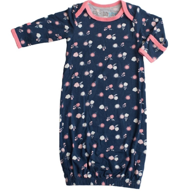 Modal Baby Gown | Navy Blossom
