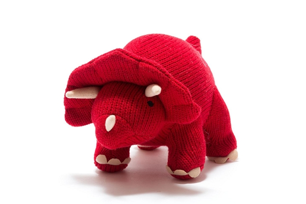 Knitted Dinosaur Toy | Red Triceratops