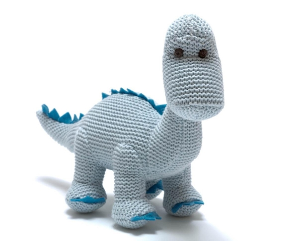 Cotton Dinosaur Rattle | Blue Diplodocus