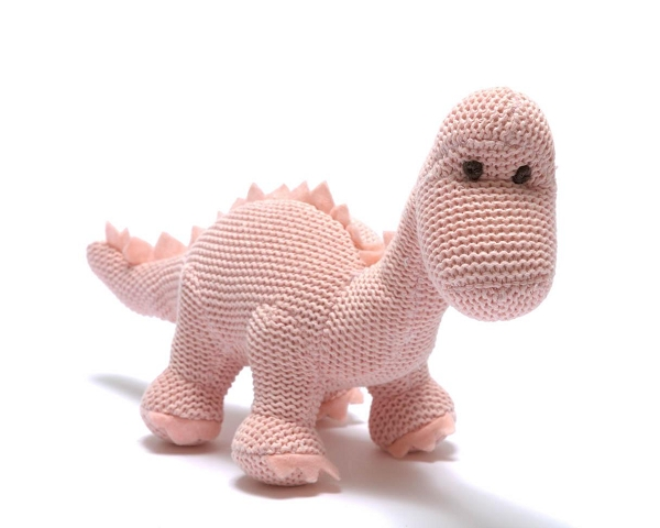 Cotton Dinosaur Rattle | Pink Diplodocus