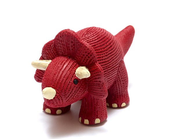 Rubber Dinosaur Toy | Red Triceratops