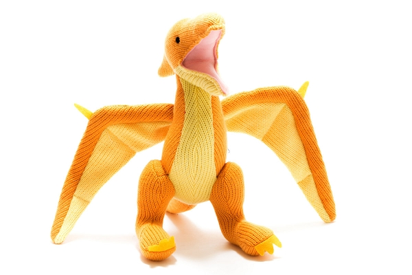 Knitted Dinosaur Toy | Yellow Pterodactyl