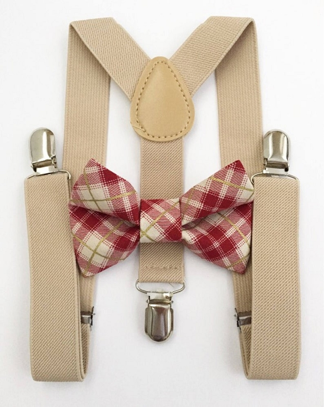 Suspender & Bowtie Set | Tan with Christmas Plaid
