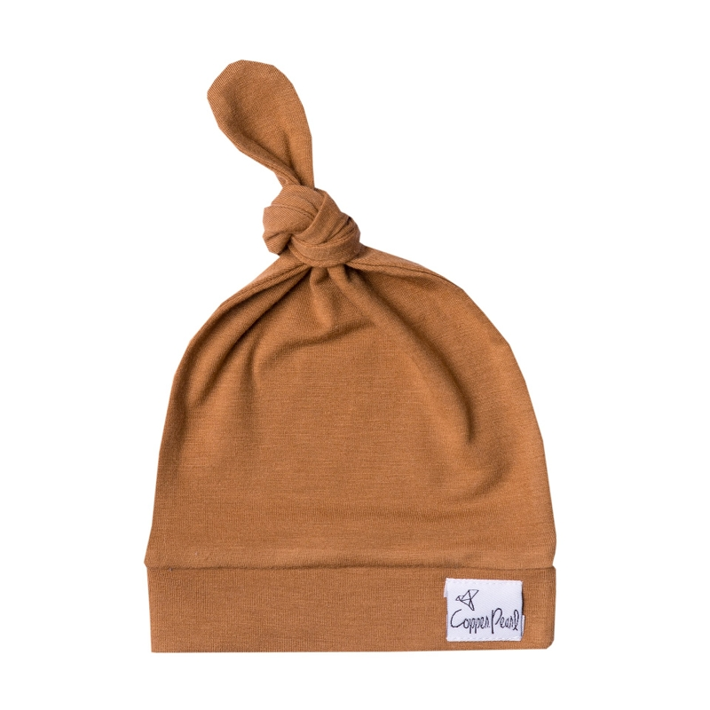 Newborn Top Knot Hat | Camel