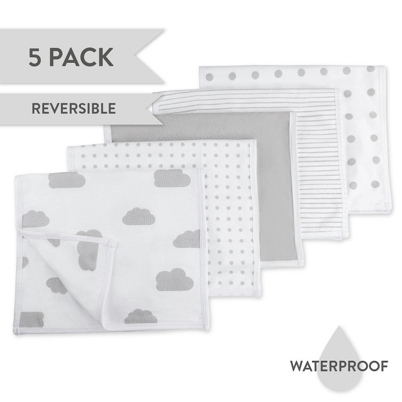 Reversible Burp Cloths | Grey Combo
