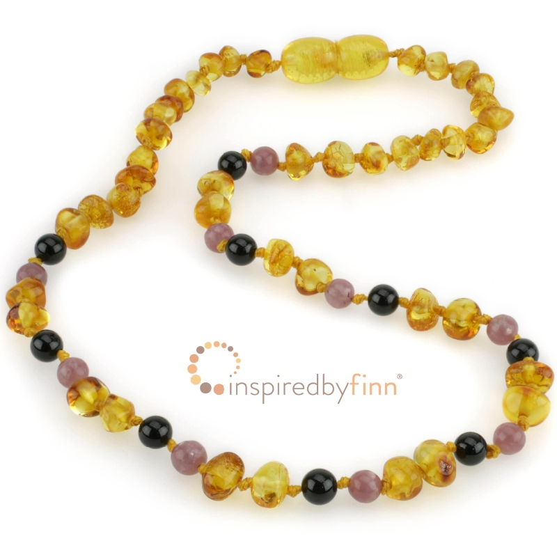Amber Necklace | Polished Golden Swirl + Curbs Hyperactivity