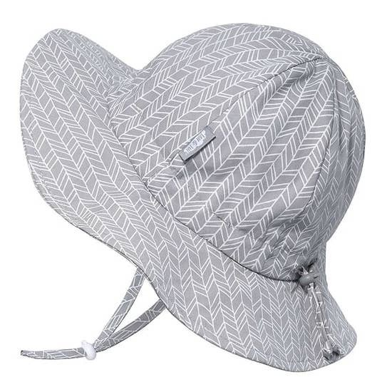 Cotton Floppy Sun Hat | Grey Herringbone