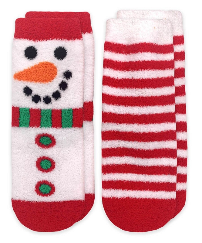 Slipper Socks 2 pair | Snowman & Stripes