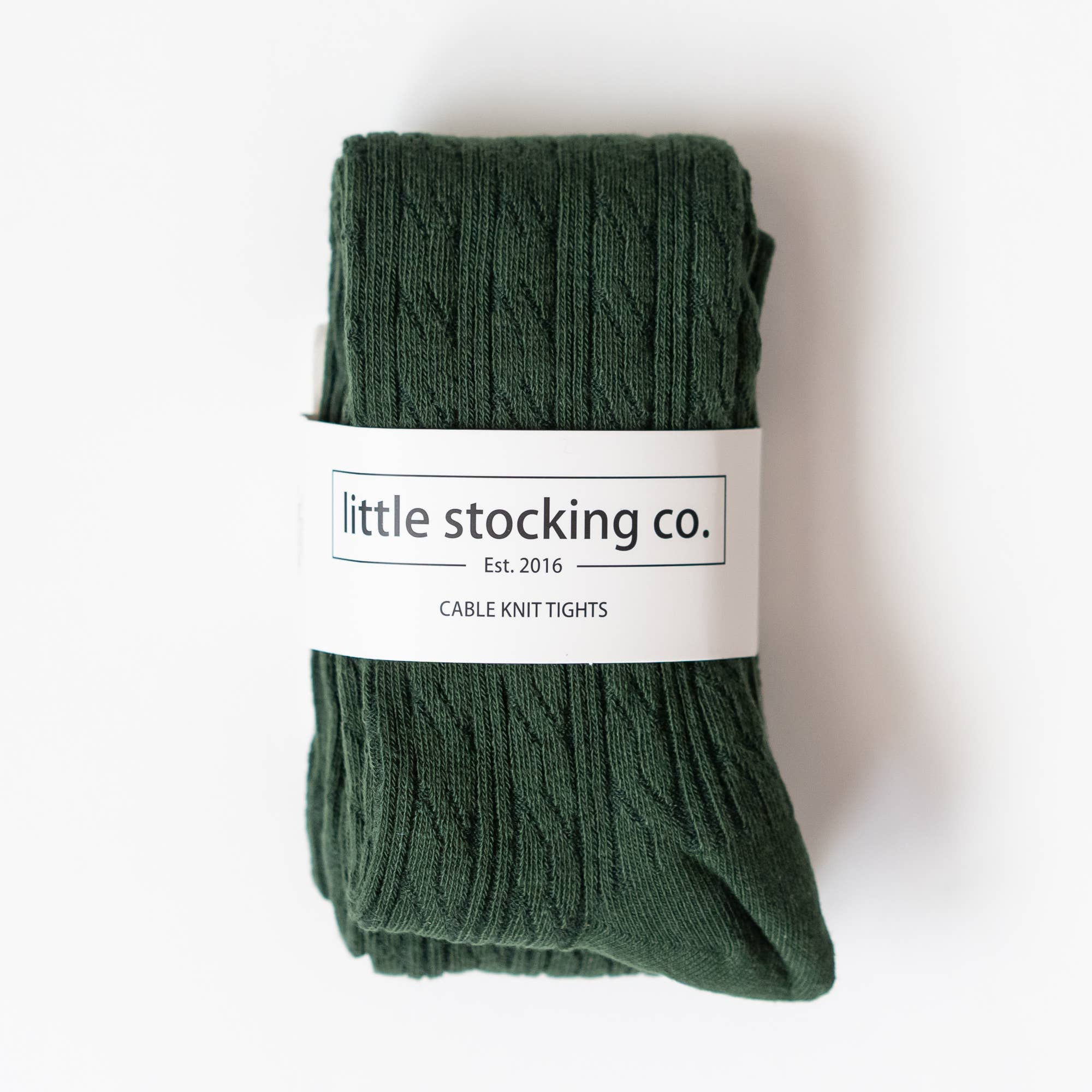 Cable Knit Tights | Forest Green