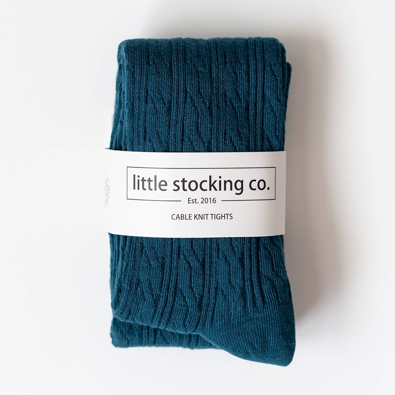 Cable Knit Tights | Deep Teal