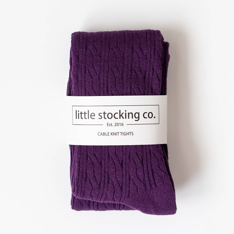Cable Knit Tights | Plum
