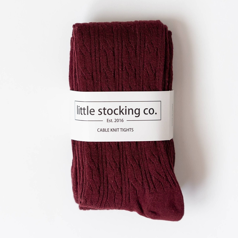 Cable Knit Tights | Wine