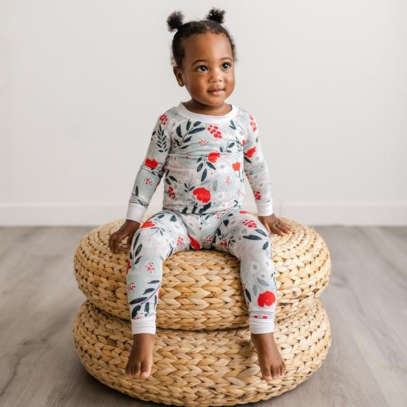 Bamboo Two-Piece Pajama Set | Winter Floral