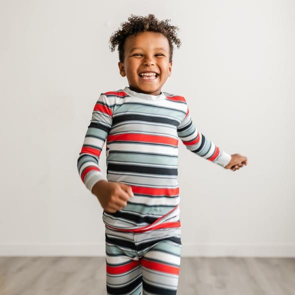 Bamboo Two-Piece Pajama Set | Winter Stripes