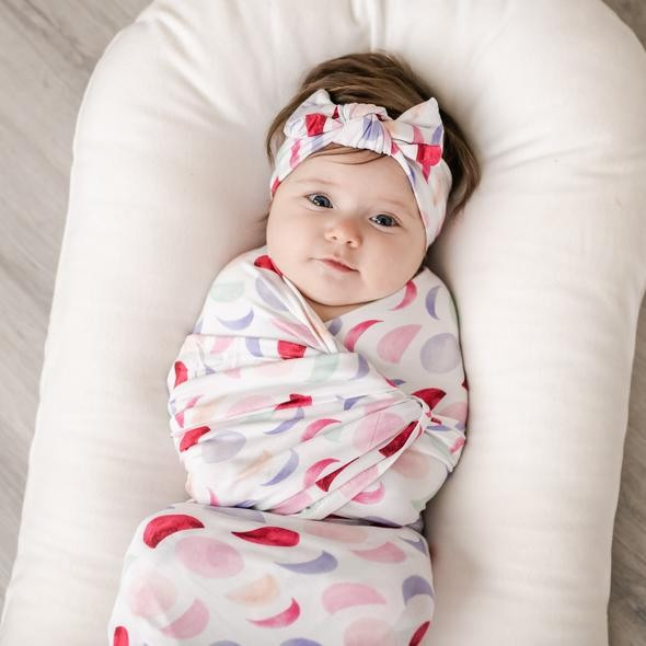 Bamboo Swaddle + Headband Set | Luna Mauve