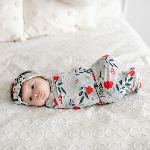 Bamboo Swaddle + Headband Set | Winter Floral