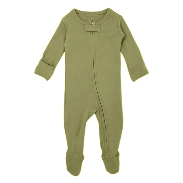 Organic Zipper Footie | Sage