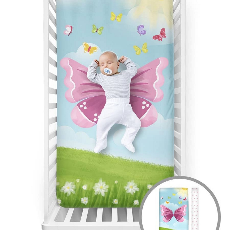 Fitted Crib Sheet | Butterfly