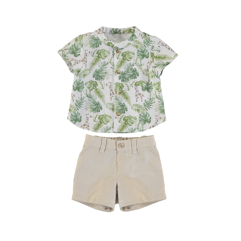 Palm Fronds Linen Shorts Set