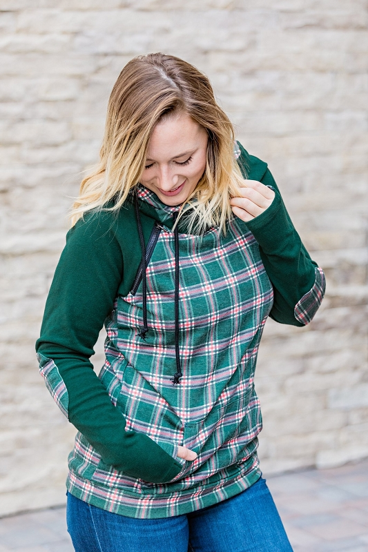 Womens Double Hoodie | Christmas Plaid