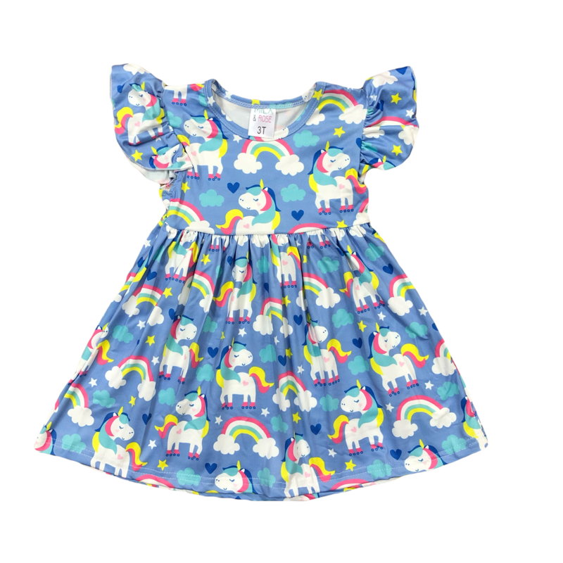 Roller Rink Flutter Sleeve Dress