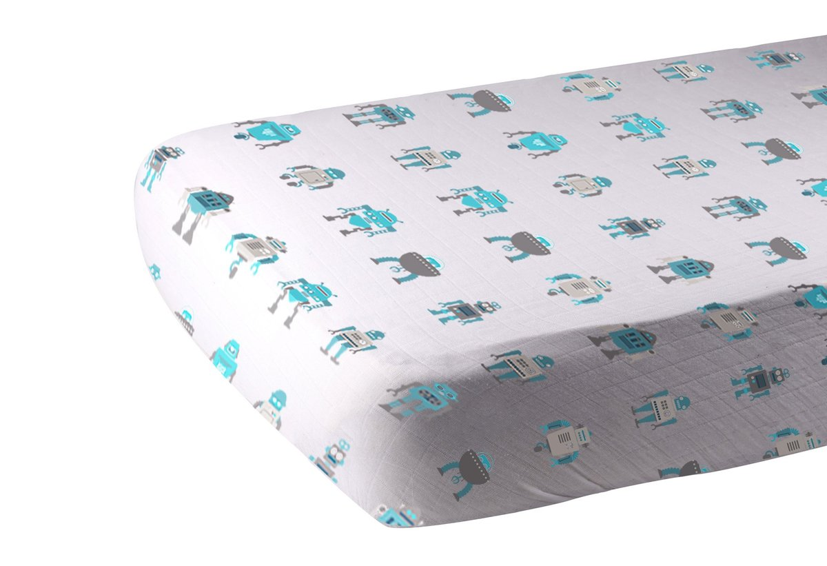 Muslin Fitted Crib Sheet | Robot