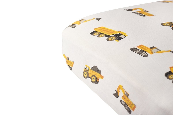 Muslin Fitted Crib Sheet | Yellow Digger