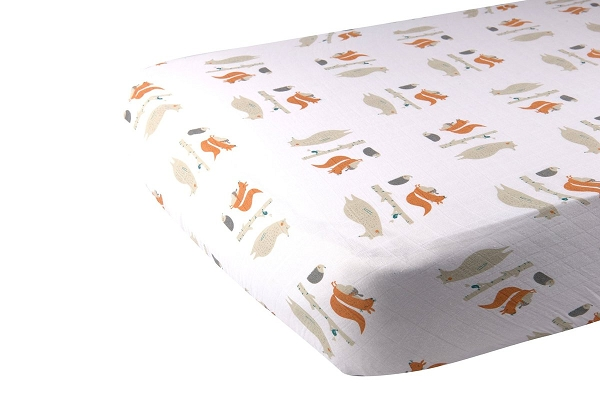 Muslin Fitted Crib Sheet | Forest Friends