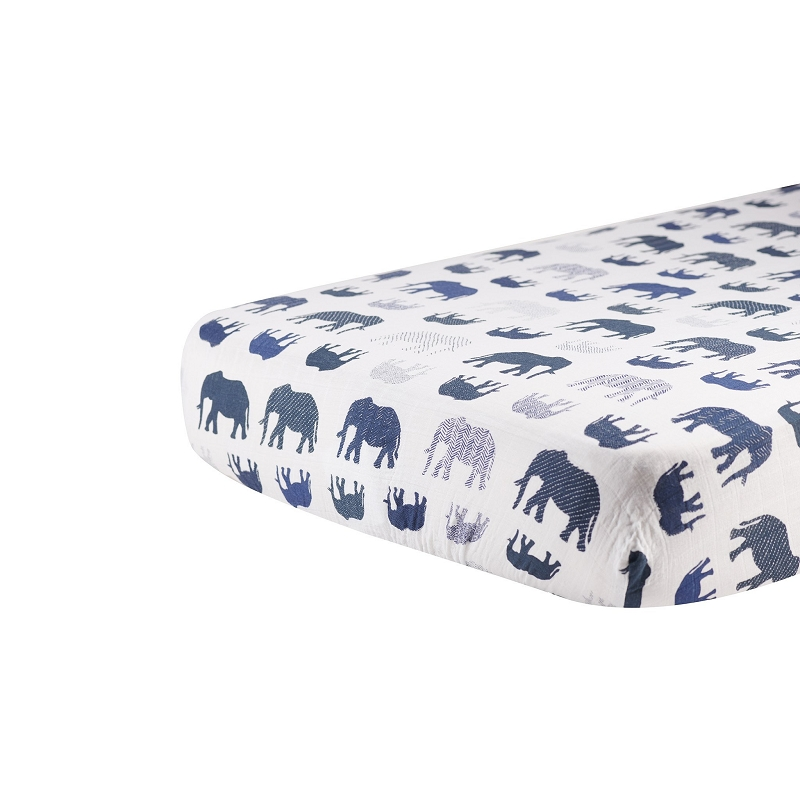 Muslin Fitted Crib Sheet | Blue Elephant