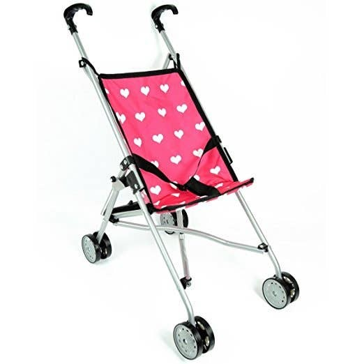 Doll Umbrella Stroller | Pink Hearts
