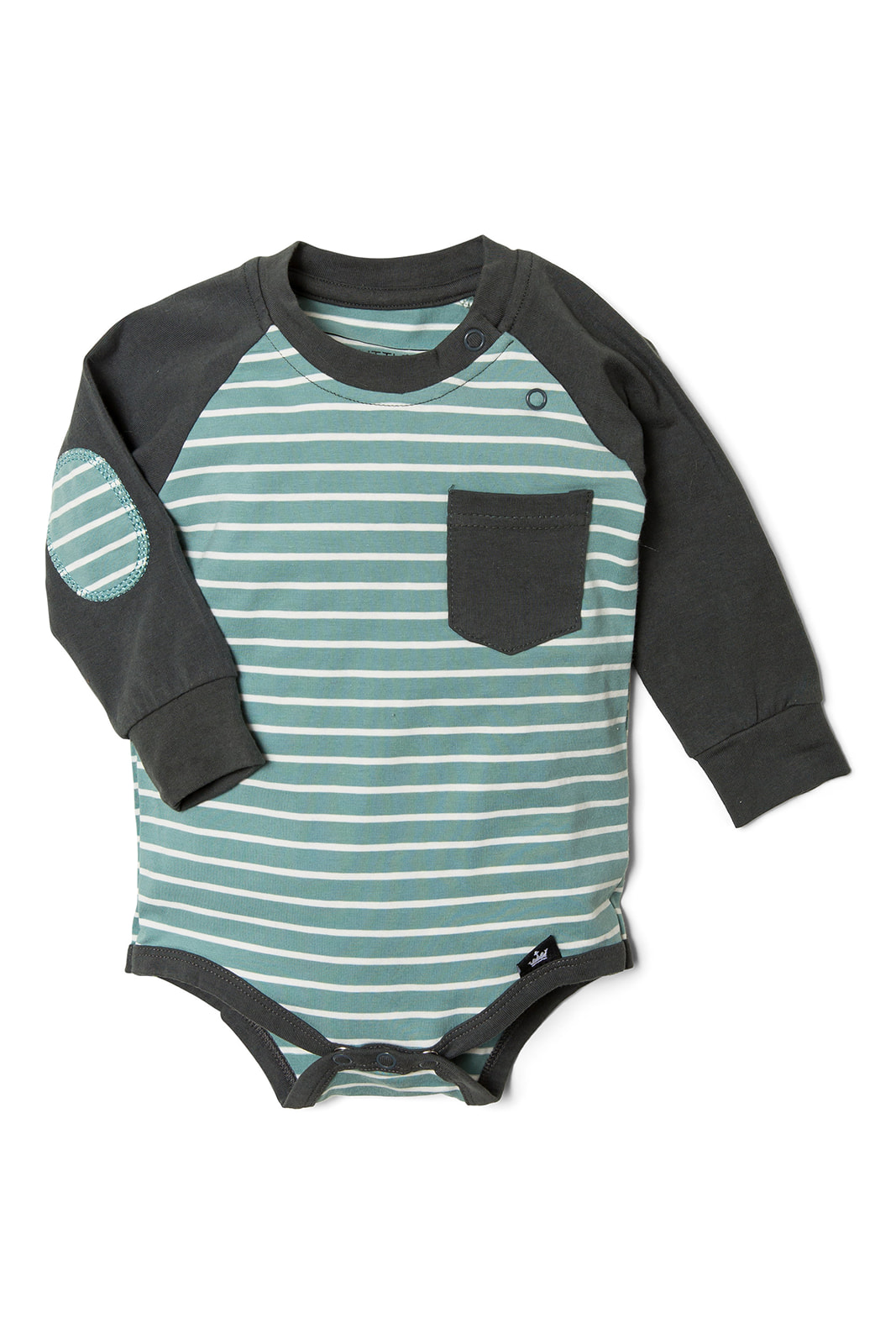 Stripe Elbow Patch Raglan Bodysuit