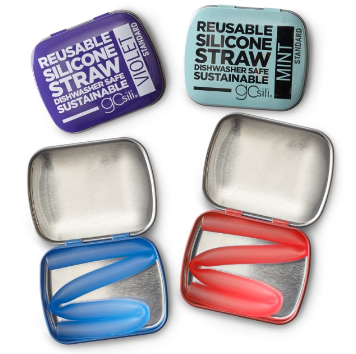 Silicone Straw + Tin
