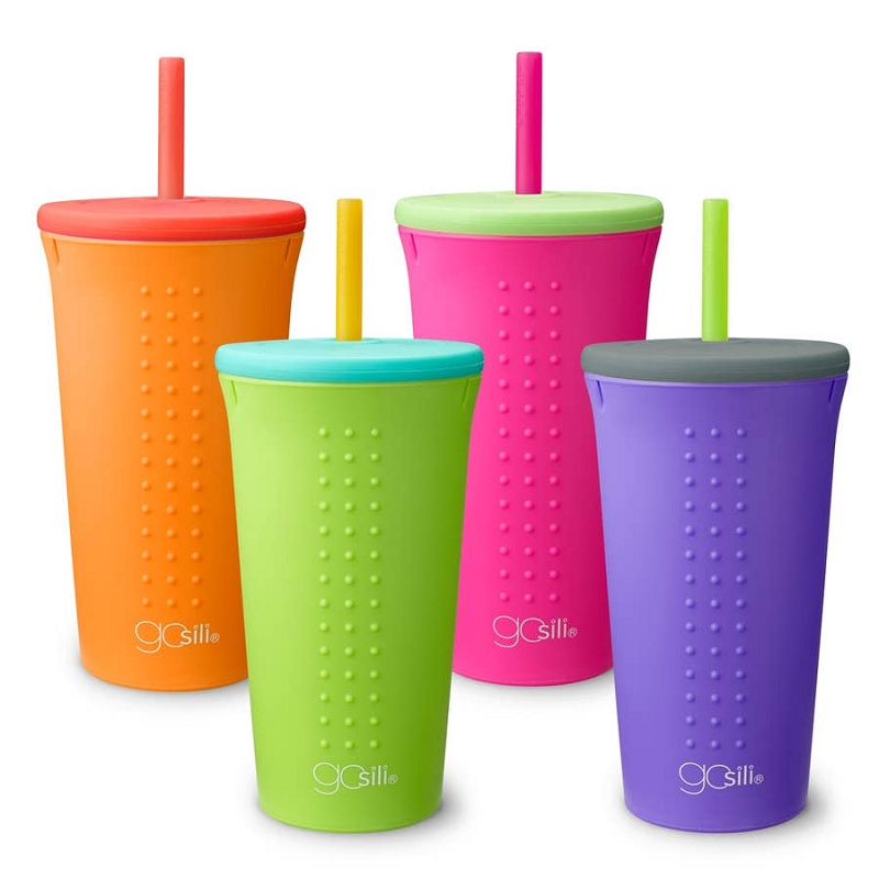Silicone Straw Cup 16 oz | Orange/Red