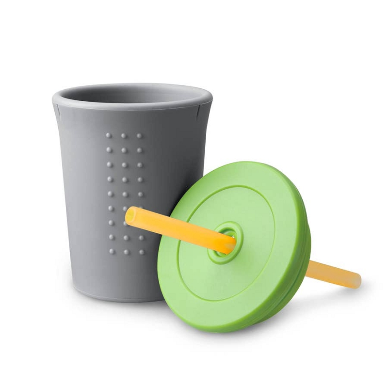 Silicone Straw Cup 12 oz | Grey/Lime