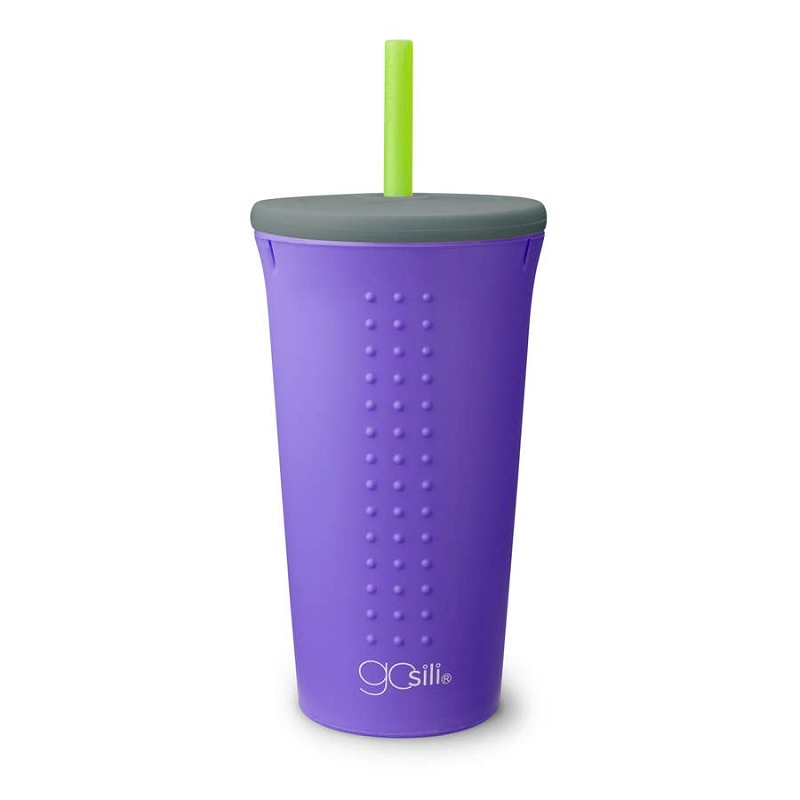 Silicone Straw Cup 16 oz | Purple/Grey