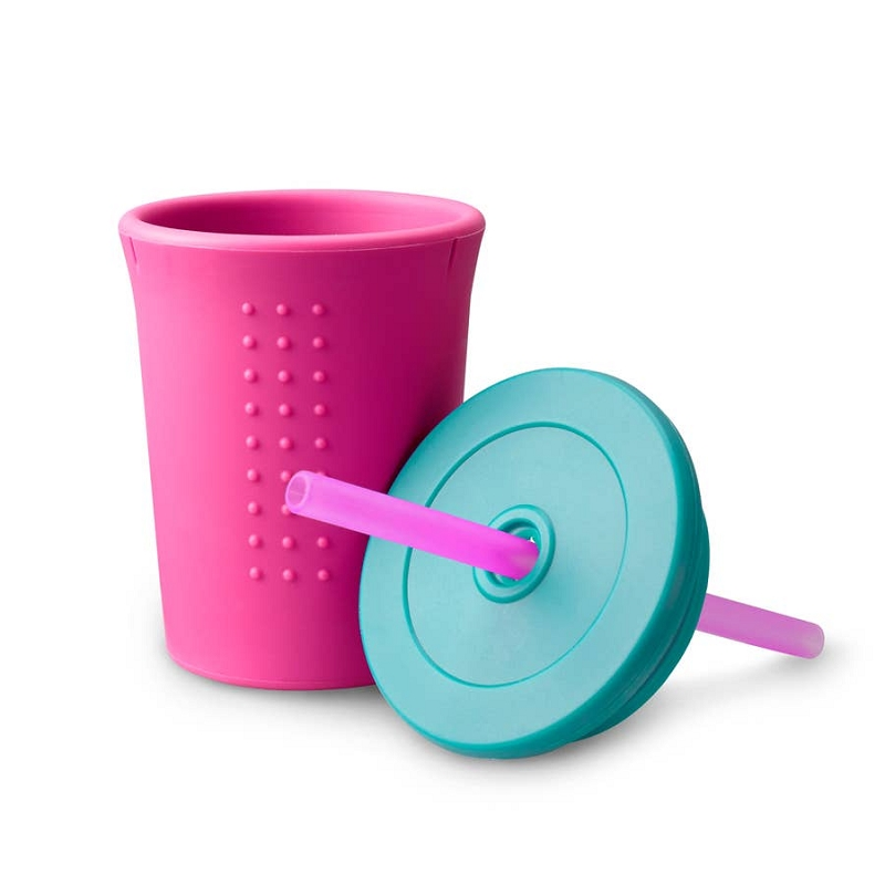 Silicone Straw Cup 12 oz | Berry/Sea