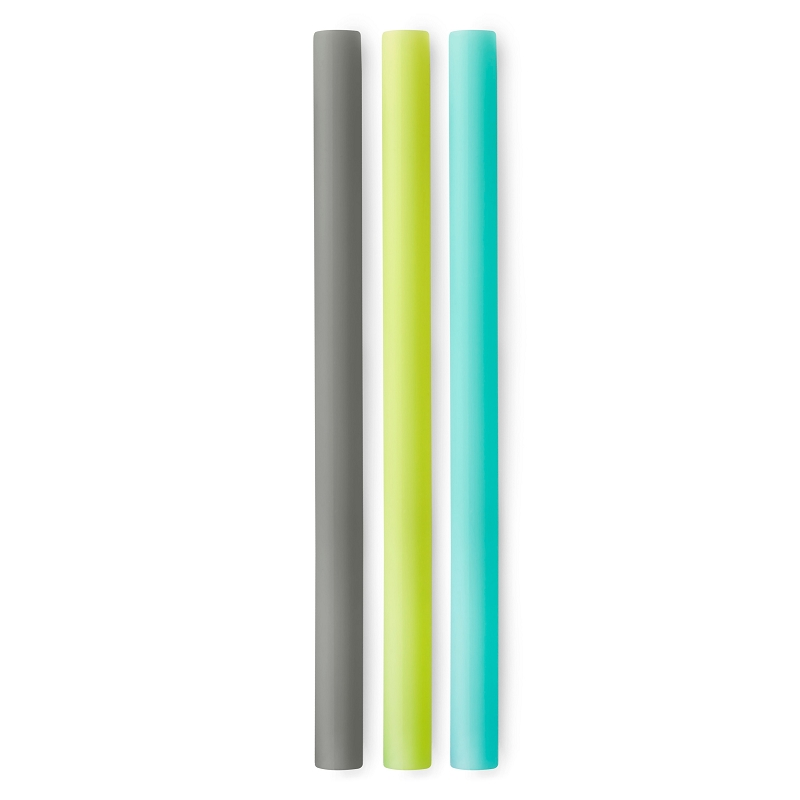 X-Wide Size Silicone Straws 3-pack | Charcoal/Lime/Sea