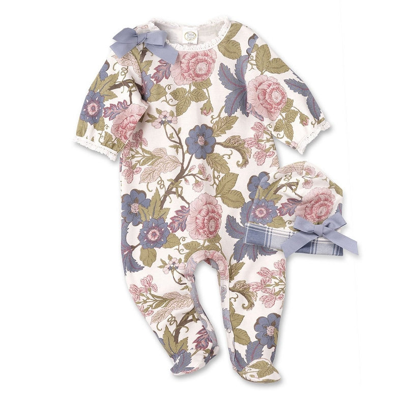Floral Tapestry Footed Romper & Hat
