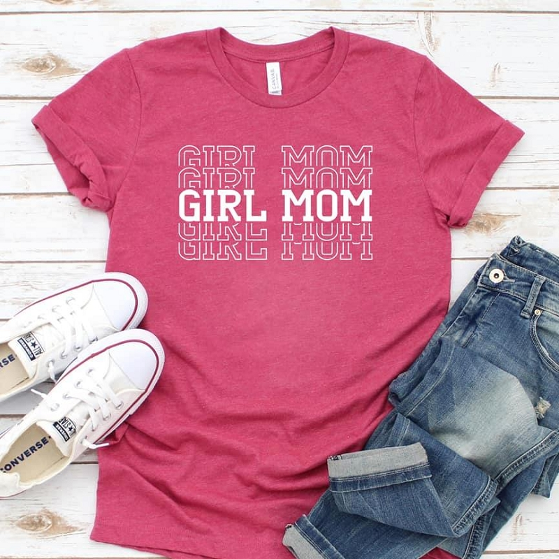 Girl Mom Tee | Raspberry