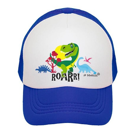 Kids Trucker Hat | Dinosaur Royal Blue