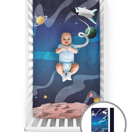 Fitted Crib Sheet | Space Explorer