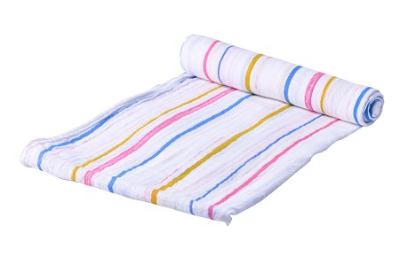 Cotton Muslin Swaddle | Spring Time Stripe