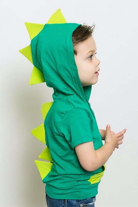 Short Sleeve Button Dino Hoodie | Green